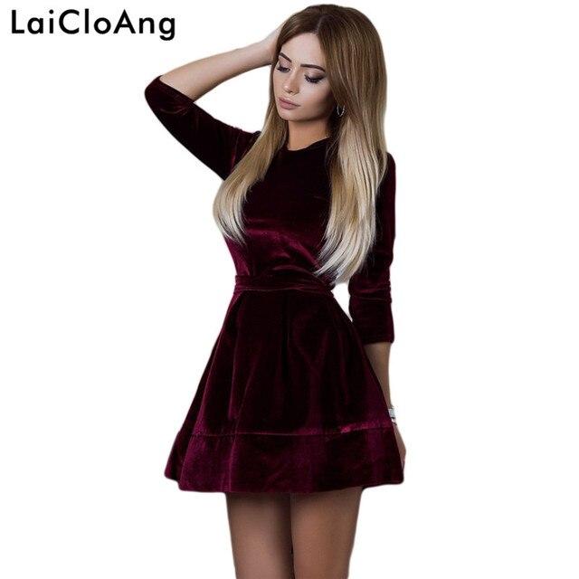 bff4b96ab5b1 LaiCloAng A-Line Elegant Velvet Party Dresses Short Autumn Winter Long  Sleeve O-Neck