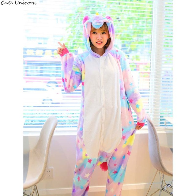 cute unicorn halloween adult anime colorful pajamas sets cartoon sleepwear women flannel star pegasus winter warm