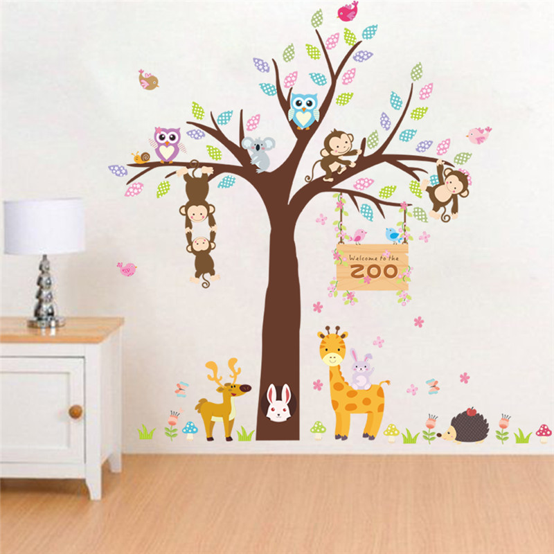 Forest zoo Animals Rabbit Giraffe Monkey Tree Wall Stickers For Kids Rooms  Bedroom Children Room Decor Wall Decal Mural Poster