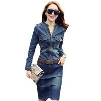 2018 New PLus Size Slim Denim Dress Women Long Sleeve Jean Dress Spring Autumn Vintage Pockets Mini Dress Vestidos Female Z478