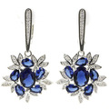 Fashion Jewelry Tanzanite, White CZ Created SheCrown Ladies Wedding  Silver Earrings 42x22mm