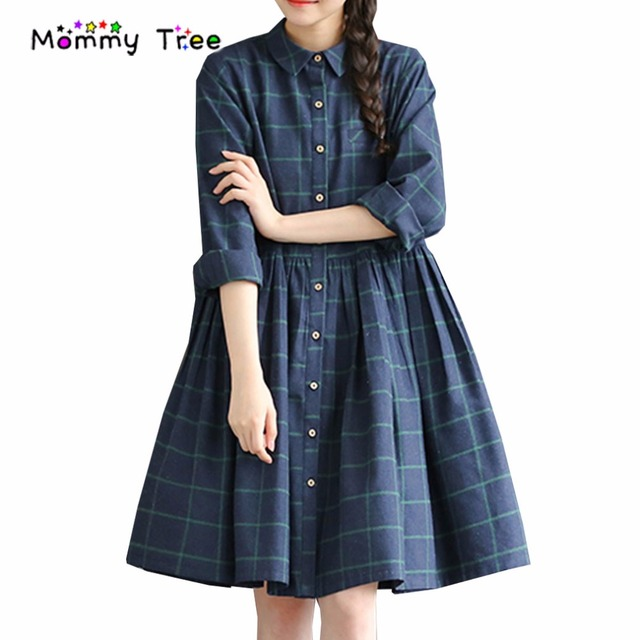 1eec09906b US $32.96  Fashion Plaid Casual Maternity Dresses for Autumn Spring Long  sleeved Pregnancy Dress Plus Size Maternity Clothes Clothing-in Dresses  from ...