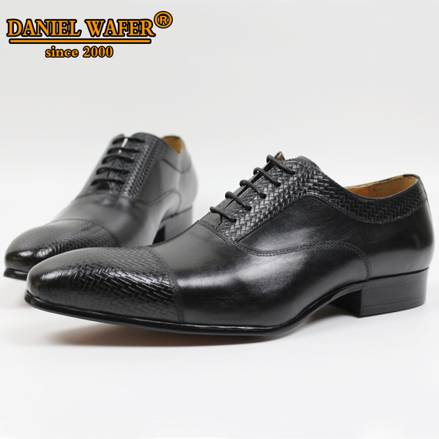 LUXURY BRAND MEN GENUINE LEATHER SHOES CAP TOE LACE UP POINTED TOE OFFICE WEDDING FORMAL DRESS BLACK SHOES OXFORD SHOES FOR MEN 1