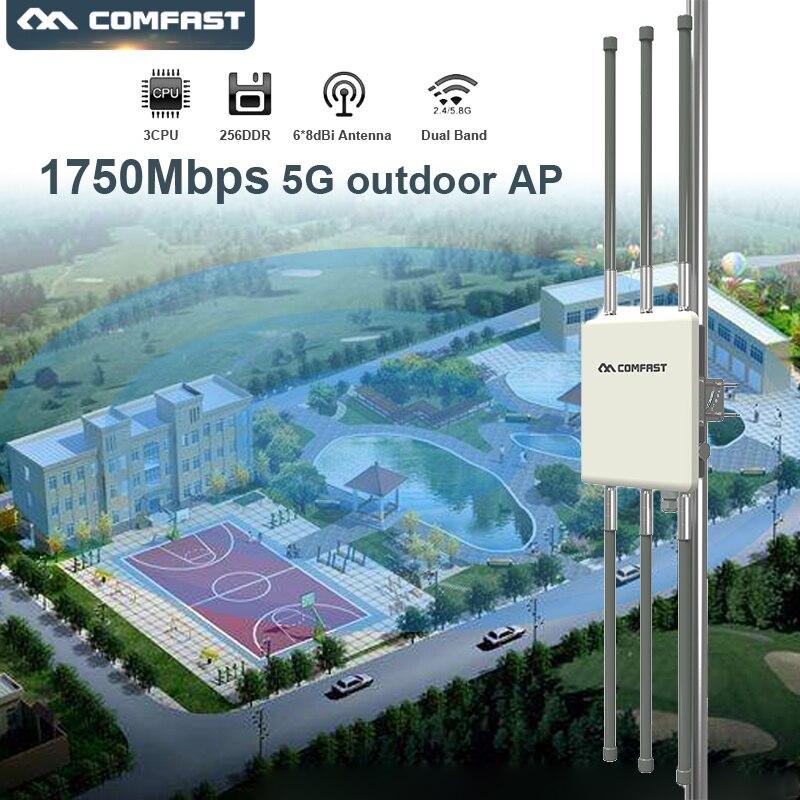 Comfast WA900V2 double bande 1750 Mbps haute puissance extérieure sans fil AP WiFi amplificateur de Signal/Booster routeur sans fil 5G wifi Extender