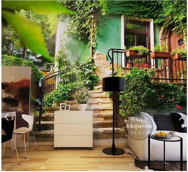 Large Custom Mural Wallpaper European Pastoral Green Garden Landscape Background Bedroom Sofa TV