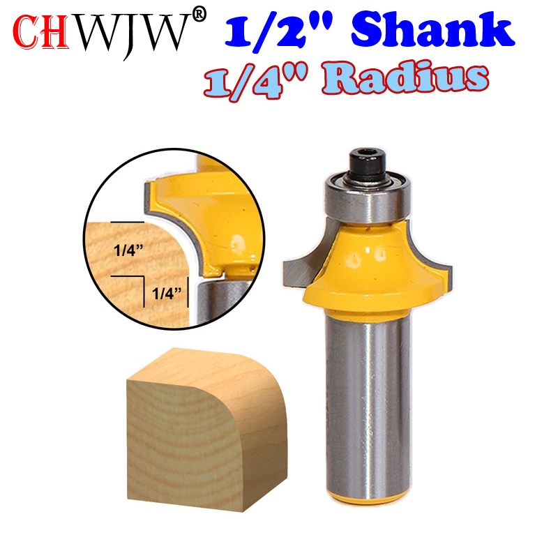 1pc 1/2 Shank High Quality Round Over Edging Router Bit - 1/4 Radius Wood Cutting Tool woodworking router bits - Chwjw 1pc 1 4 shank high quality roman ogee edging and molding router bit wood cutting tool woodworking router bits chwjw 13180q