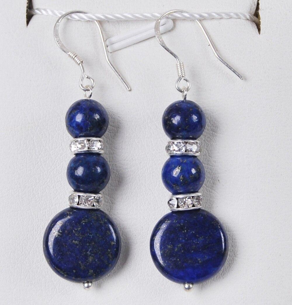 Free Shipping@@@@@ Real Natural Egyptian Lapis Lazuli /Silver Hook Dangle Earrings B11 6.09