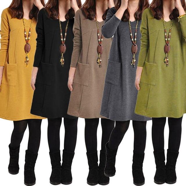 da64bba3214 2019 Autumn Winter robe female Long Sleeves Mini Dress Plus Size 3XL 4XL 5XL  Women School