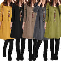 2019 Autumn Winter robe female Long Sleeves Mini Dress Plus Size 3XL 4XL 5XL Women School Dress Pockets Solid V Neck Loose Dress
