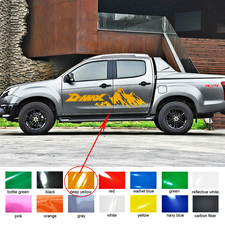2PC side door rear trunk car accessories decals irregular shape dmax mountains styling graphic vinyl car stickers for dmax 2012 for suzuki sx4 s cross 2013 2014 automobile chrome rear door trunk lid cover trim car styling stickers accessories