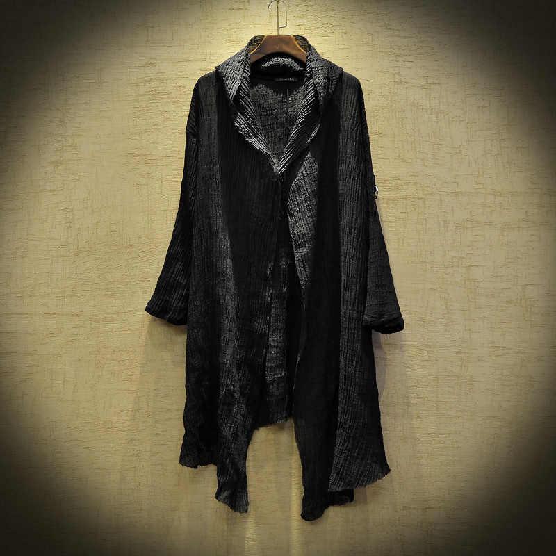 Keten ince ceket erkekler Ttrench ceket steampunk erkekler gizemli tozluk erkekler uzun kollu Hoodie ceket moda hırka gömlek stygian