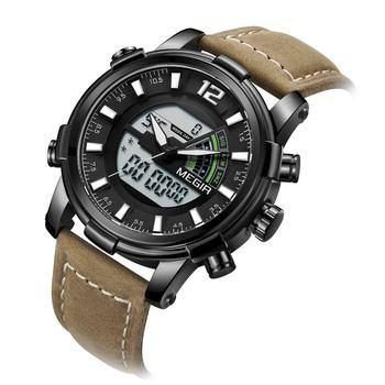 Megir Men's Digital Chronograph Quartz Clocks Military Sports Double Display Time Zone Leather Strap Luminous Hands Wrist Watch
