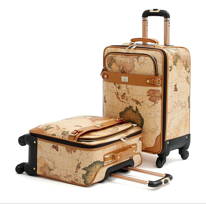1pc 16 18 20 inch Map suitcase Wheels Leather bags Trolley Board chassis World Map luggage shipping by EMS