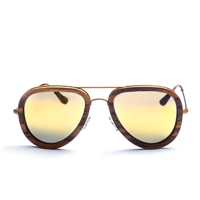 Gold Strahlung Runde Form Sonnenbrille Qualität Schutz Hohe Frauen Holz Polarisierte Für vwE7qII1