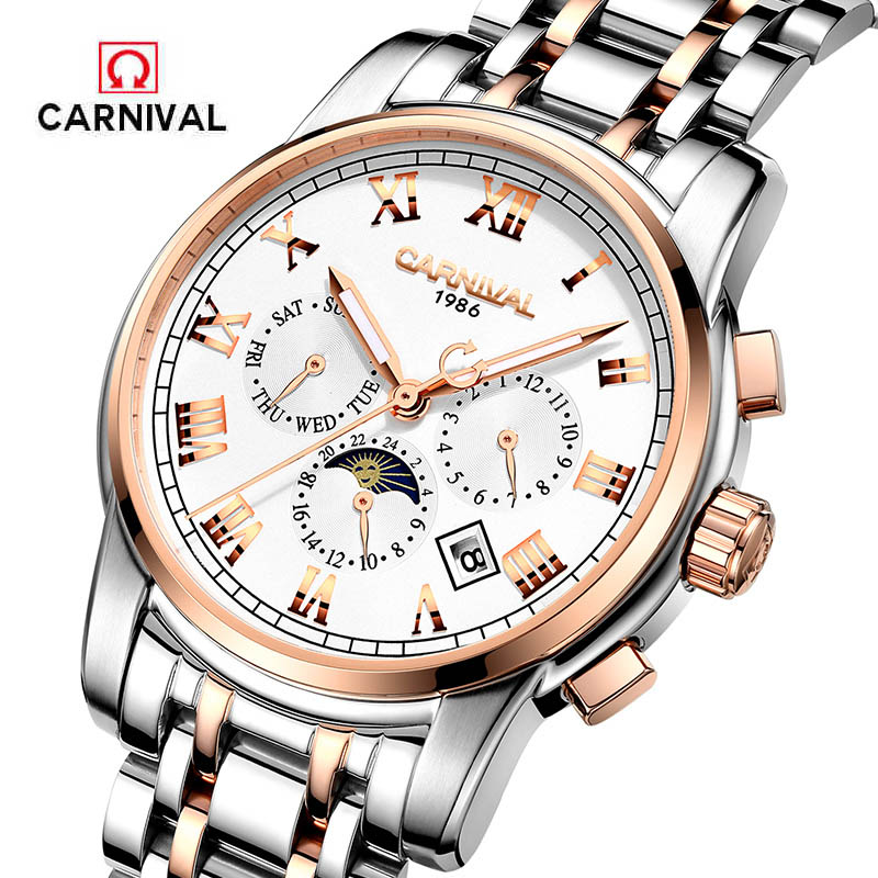 Hot CARNIVAL Luxury Men Watch Men Automatic Mechanical Wrist Wristwatch Stainless Steel Male Clock Relogio Masculino Waterproof-in Mechanical Watches from Watches    1