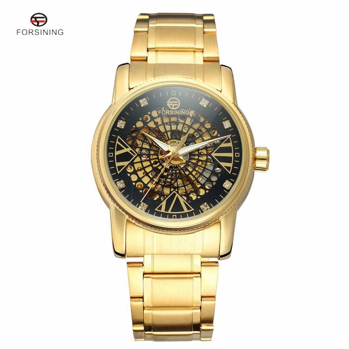 FORSINING New Men Male Winner Brand Mechanical Watch Steel Automatic Stylish Classic Skeleton Steampunk Wristwatch Gift forsining men s watch vogue skeleton mechanical leather analog classic wristwatch color silver fsg8090m3
