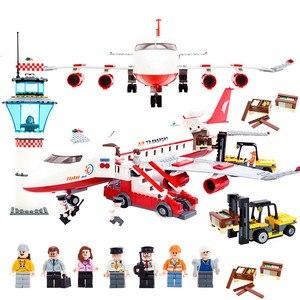 Image 1 - مكعبات بناء طائرة خاصة 856 قطعة من مطار المدينة الدولي أطقم مكعبات بناء ألعاب أطفال نماذج مكعبات متوافقة مع ألعاب الأطفال