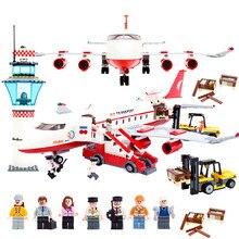 Aeroporto internacional da cidade 856 pçs tijolos blocos de construção de avião privado conjuntos tijolos modelo crianças brinquedos criador compatível legoings