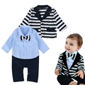 Baby Boys Male Infants Kids Long Sleeve Coats Blazer Outwear Tops+Gentleman Bow Bodysuits Rompers 2pcs Clothing Set Suit MT1061