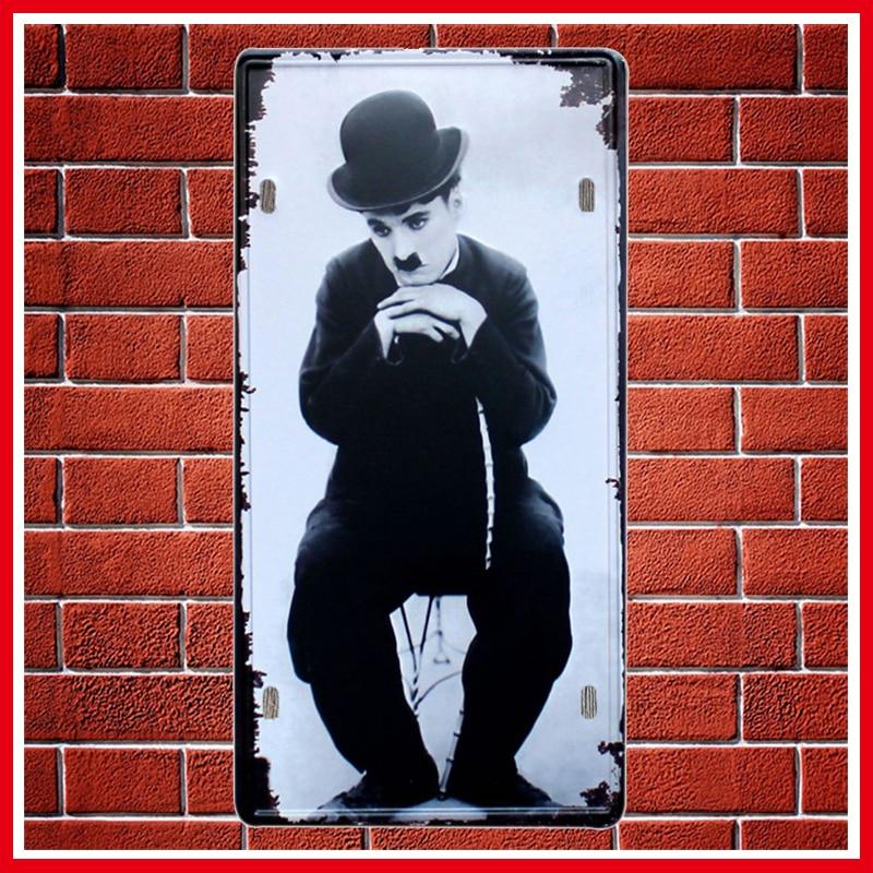 Actor Charlie Chaplin Metal License Plate Vintage Home Decor Tin Sign Bar Pub Garage Decorative Metal Sign Art Painting Plaque