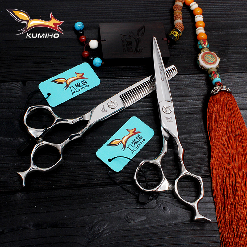 KUMIHO 2017 new style best quality hair scissors set 6inch hair cutting and thinning scissors made of Japan 440C hair shears