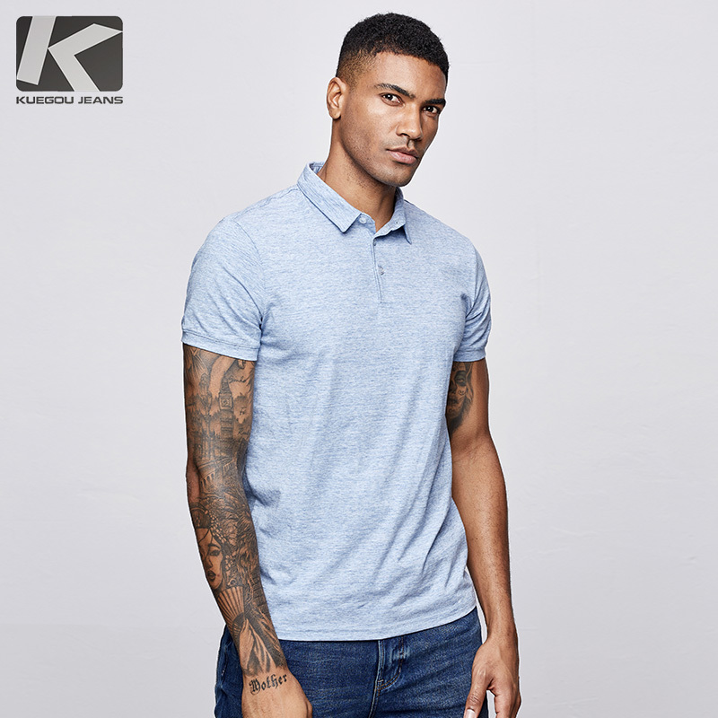 KUEGOU 2019 Summer Cotton Solid Blue   Polo   Shirt Men Fashions Short Sleeve Slim Fit Poloshirt Male Casual Clothes Brands Top 447