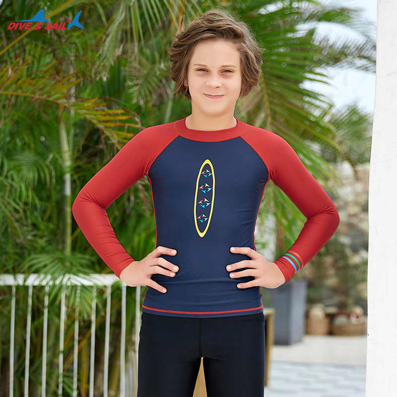 قميص ضغط طفح الحرس طويل الأكمام للشباب الأطفال طبقة قاعدة وسباحة قميص Rashguard ملابس السباحة UPF 50 + رياضي