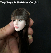 1/6 Scale Brown Hair Tooth decay Loli Girl Carving Head Singing Open Mouth Model Fit For 12 pale Body Action Figure