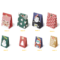 Christmas Cartoon Kraft Paper Bag Colorful Disposable Souvenir Bag With Lovely Sticker Shop Package Tools 120pcs/pack