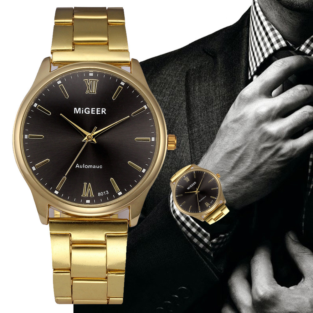 MIGEER Simple Design Fashion Man Glass Stainless Steel Watch band Analog Quartz Wrist Watch xfcs saat relogio reloj montre gift new design fashion mens stainless steel band square business quartz analog wrist watches 5v8u 3y3fd