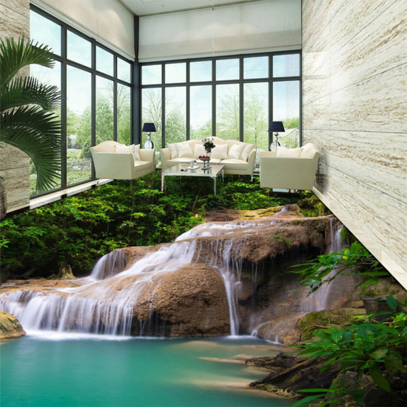 Custom 3d mural wallpaper nature waterfall pvc floor for Nature room wallpaper