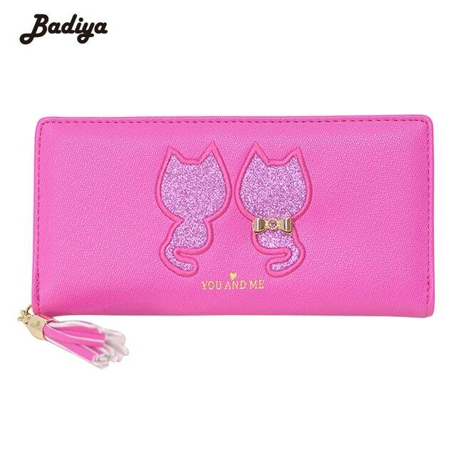 fd814e2f77efc Wysoka jakość Cartoon koty kobiet zamek sprzęgła portmonetka śliczny portfel  z frędzlami duża pojemność kobiety portfele