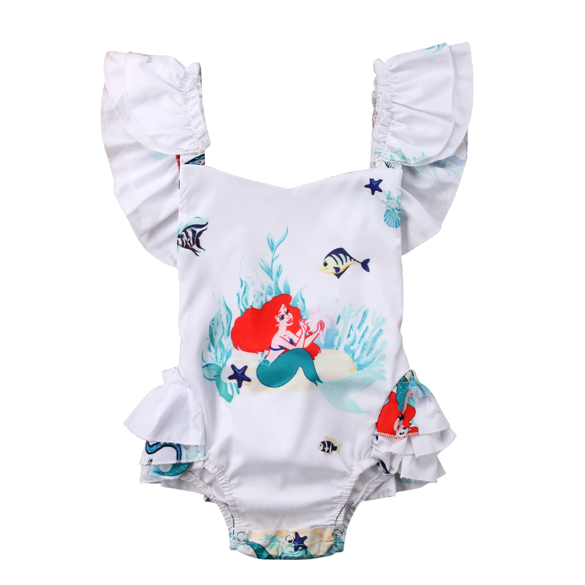 Kids Newborn Baby Girl Mermaid Romper Baby Girls Summer Backless Jumpsuit Cotton Baby Clothing