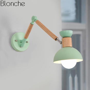 Modern Wood Wall Lamp Adjustable Nordic Led Wall Lights for Living Room Bedroom Bedside Lamp Mirror Light Sconce Home Decor E27