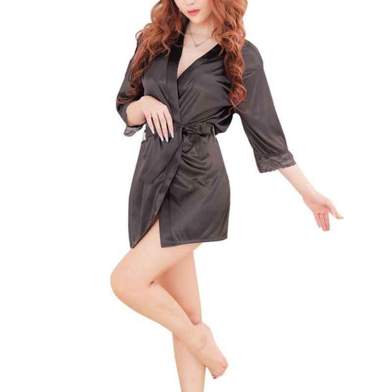 新ブランドローブ女性のセクシーなナイトウェアレーストリミング女性のバスローブラウンジ着物ローブカジュアル緩いホームファム H8