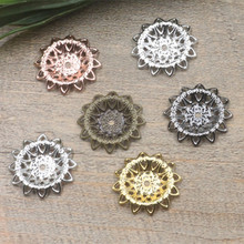 21mm 6 Colors Hollow Out Filigree Copper Flower Setting Charms DIY Jewelry Making Components cy651