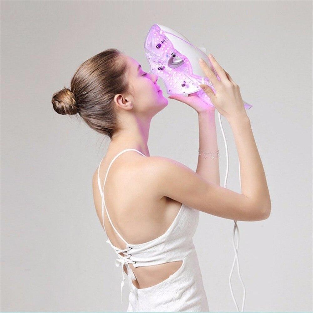 Светодиодный 7 Цвета свет микротоковая маска для лица машина фотонной терапии омоложения кожи лица шеи маска отбеливающая электрическое ус...