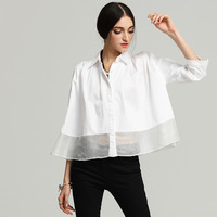 Cotton Solid Loose Single Breasted Blouse 2018 New Brand Runway Women Spring Summer Shirts High Quality