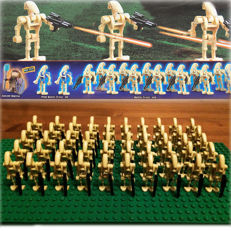 New 60pcs/lot Star Wars Battle Droid Army sw001c Model Set Compatible brick guns Solider building block toys lego star wars set 75043