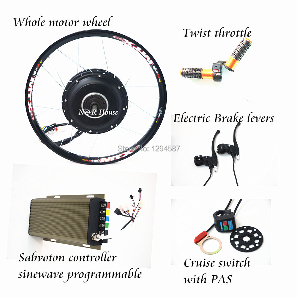 48v-72v 3kw ebike conversion kit 3000w with sabovoton sinewave programmable controller free shipping sinewave controller
