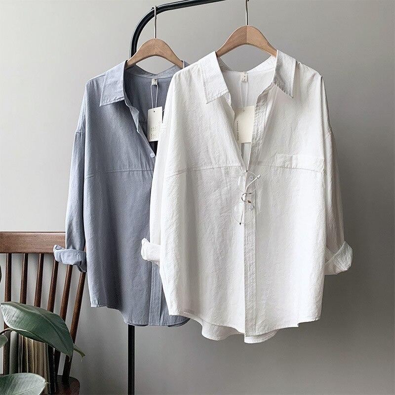 742dd05c1e6e 2019 Otoño de las mujeres Blusa de algodón coreano de manga larga para  Mujer Tops y Blusas de las mujeres blanco Camisas Blusas ropa femenina Tops