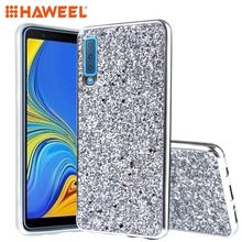HAWEEL Phone Case for Galaxy A7 2018  Samsung Glitter Powder Shockproof TPU Protective