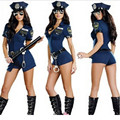 2017 New Wholesale Sexy Girl Woman Cop Costumes Officer Uniform Halloween Adult Fancy Policemen Policewoman Costume For Women
