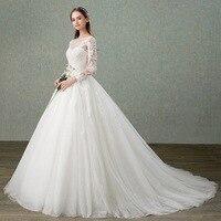 Hot Sale Elegant Ivory Sheer Neck Beading Lace Vestidos De Novia Backless A line Wedding Dresses With Sleeve Mariee Bridal Gowns