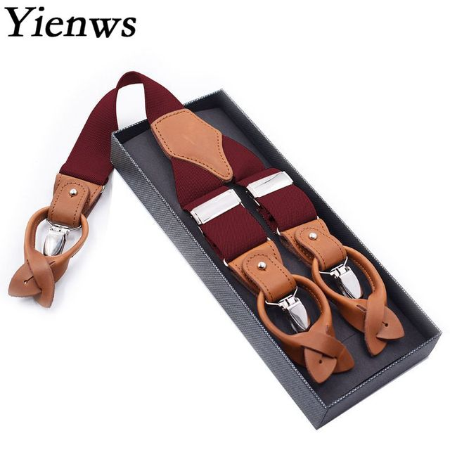 Yienws Mens Braces for Trousers Burgundy Vintage Leather Suspenders for Men 6 Button Pants Strap Suspensorio 125cm YiA059