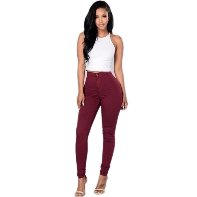 EIFFTER Women Solid Pants 2016 New Fashion Female High Wasit Skinny Thin Pencil Pants Candy Color Pencil Pants Plus Size F1077