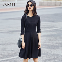 Amii 2017 New Women Solid A Line O Neck 3 4 Sleeve Knee Length Dress