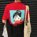 Camisetas mulher clothing 2017 camiseta verão estilo coreano ulzzang harajuku dos desenhos animados impresso t-shirt para as mulheres tops de manga