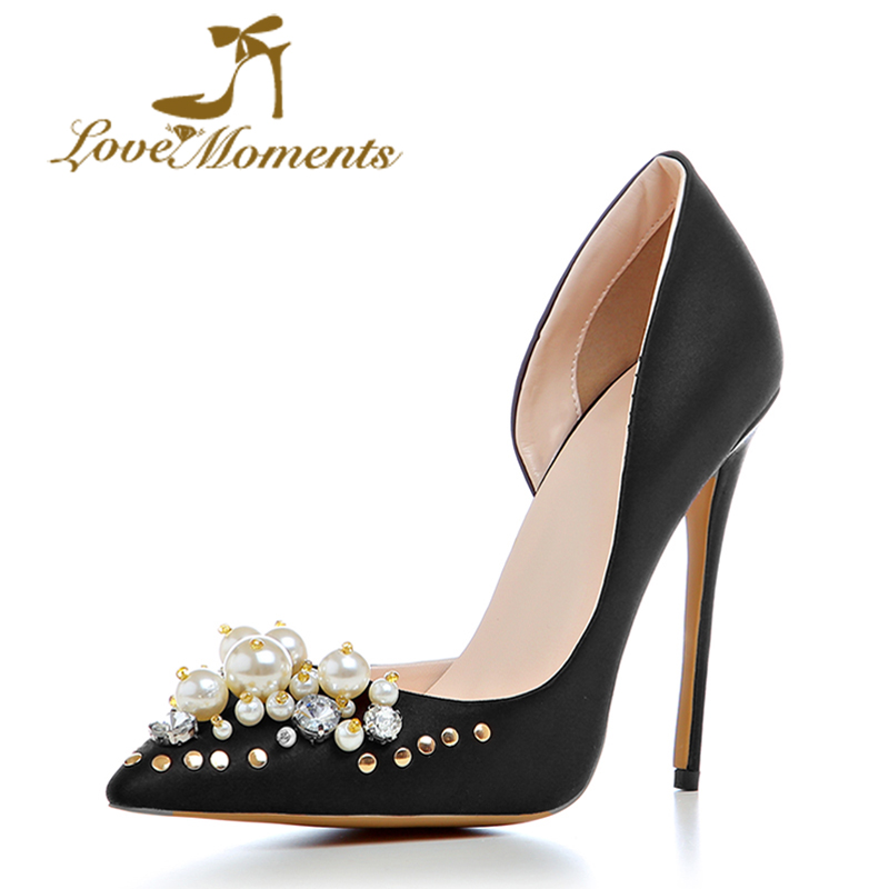 Love Moments high-quality Shoes Woman 12CM High Heels Pumps Sexy Pointed Toe High Heels Wedding bridal Shoes for Women love moments pearl shoes woman white and red wedding shoes bride pumps high heels platform dress party shoes for women ladies