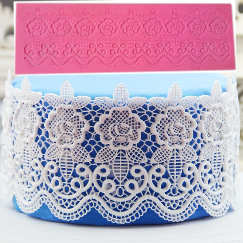 Aomily Beautiful Wedding Cake Silicone Flower Lace Fondant Mold Mousse Brim Decor Sugarcraft Icing Mat Pad Pastry Baking Tool
